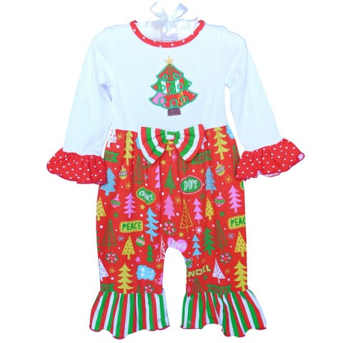 AnnLoren Baby Girls Red Christmas Tree Holiday Romper