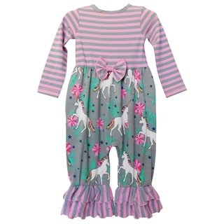 Link to AnnLoren Girls Boutique Unicorns & Rainbows Baby Romper Similar Items in Girls' Clothing