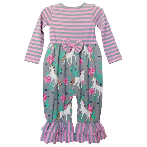 AnnLoren Girls Boutique Unicorns & Rainbows Baby Romper