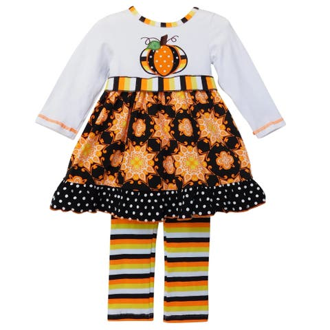AnnLoren Girls Halloween Dress & Striped leggings Autumn Outfit