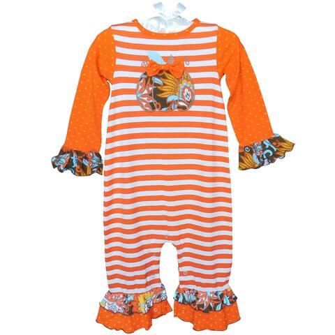 AnnLoren Baby Girls Autumn Pumpkin Striped Romper