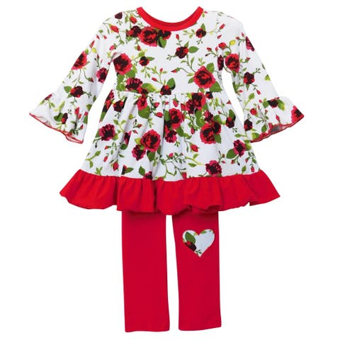 AnnLoren Girls Red Floral Bouquet Dress & Leggings Holiday Outfit