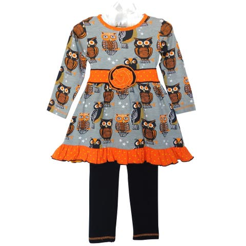 AnnLoren Girls Halloween Bats Dress and Leggings