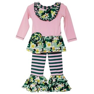 AnnLoren Girls Pink Camouflage Floral Tunic & Striped Ruffle Pants