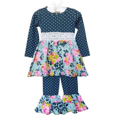 AnnLoren Girls Grey Blue Shabby Floral Dress & Ruffled Pants