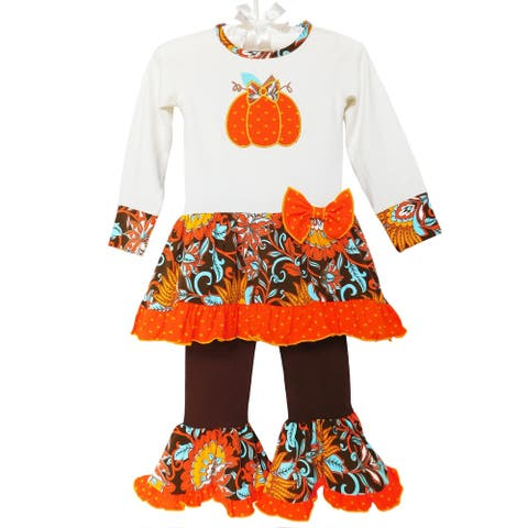 AnnLoren Girls Autumn Pumpkin Tunic & Pants Set