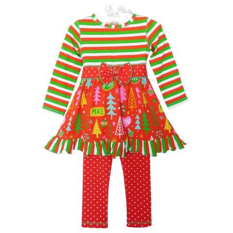 AnnLoren Girls Boutique Christmas Tree Dress and Leggings Set