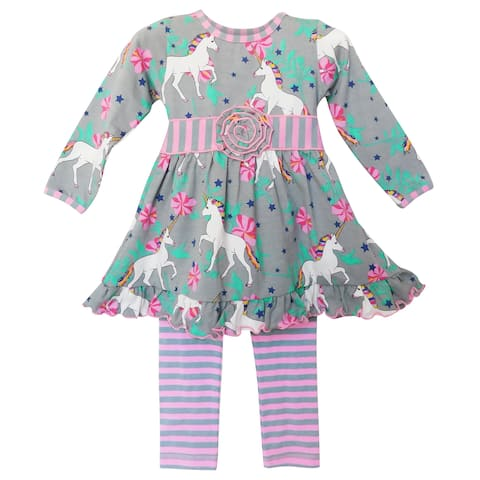 AnnLoren Girls Unicorns and Rainbows Dress Outfit