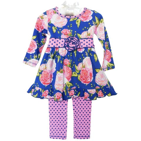AnnLoren Girls Pink & Blue Big Floral Dress & Polka Dot Leggings