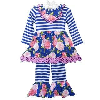 AnnLoren Girls Pink & Blue Big Floral Dress Outfit