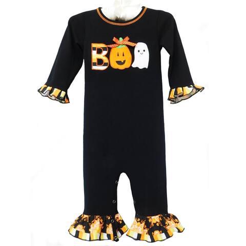 AnnLoren Baby Girls Black & Orange Boo Halloween Romper