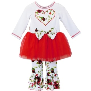 Link to AnnLoren Girls Red Floral Bouquet Heart and Tulle Holiday Outfit Similar Items in Girls' Clothing