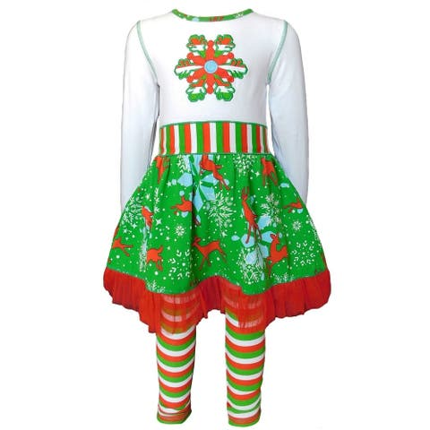AnnLoren Girls Christmas Snowflake Dress & Stripped Leggings Set