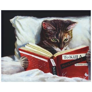 """""""Late Night Thriller"""" Cat Wall Art Graphic Art Print on Wrapped Canvas"""