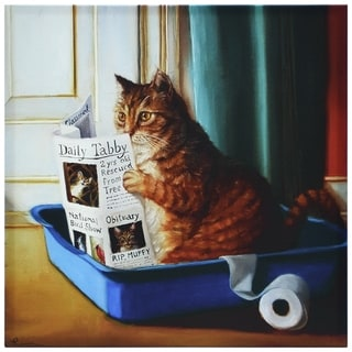 """""""Cat On A Throne"""" Cat Wall Art Graphic Art Print on Wrapped Canvas"""