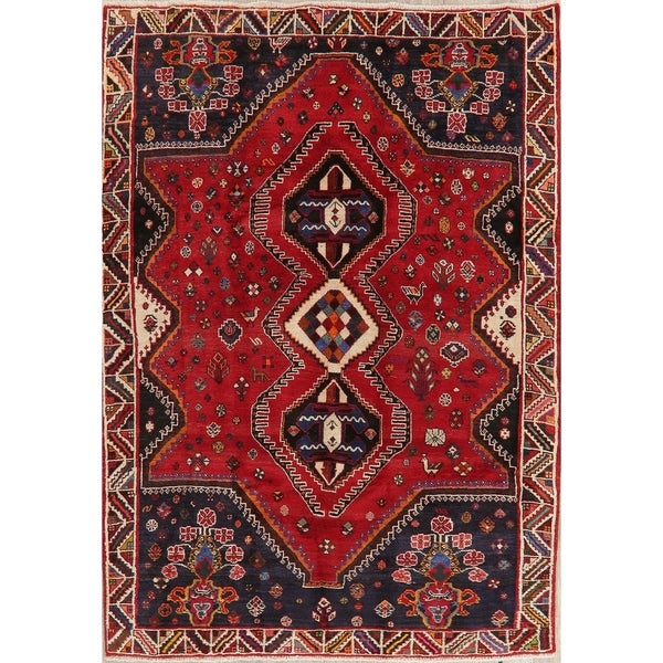 "Shiraz Oriental Hand Knotted Wool Persian Tribal Area Rug - 8'6"" x 6'1"""