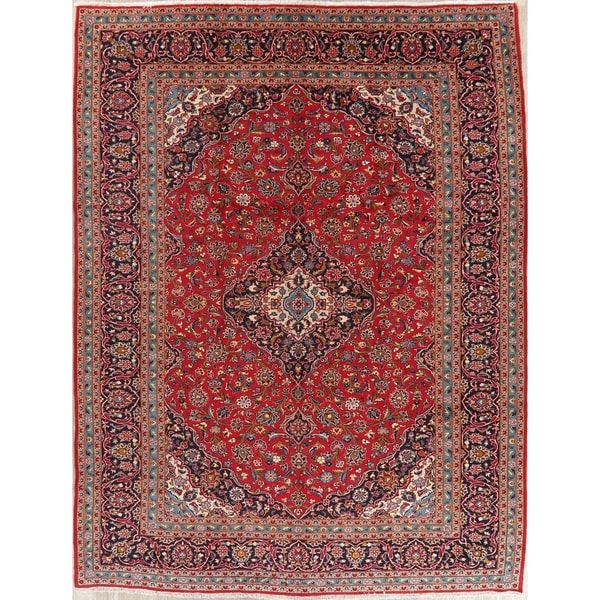 "Kashan Oriental Hand Knotted Medallion Persian Wool Vintage Area Rug - 12'10"" x 9'9"""