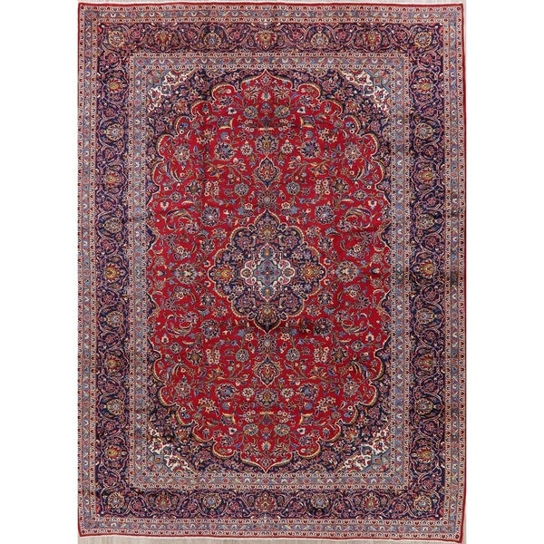 """Kashan Oriental Hand Knotted Wool Persian Medallion Area Rug - 13'4"""" x 9'9"""""""