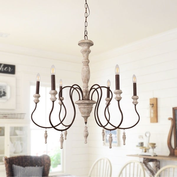 Farmhouse Rustic Wooden Candle Chandelier with Drops - 32 inches. Opens flyout.