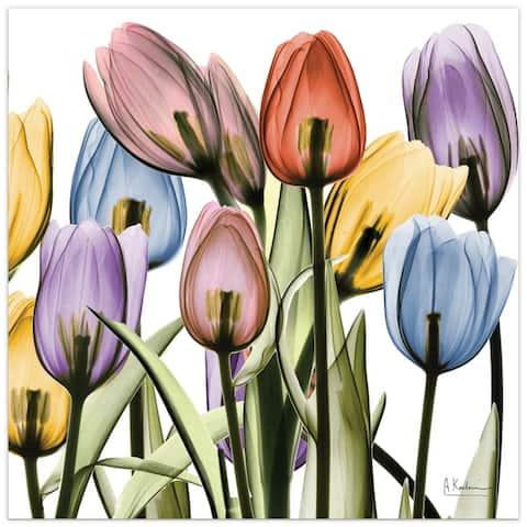 "Porch & Den ""Tulip Scape x-ray II"" Frameless Floating Glass Panel Art"
