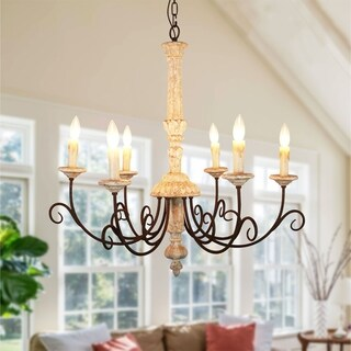 Link to French Country 6-Light Wood Candle-style Chandelier - 31 inches Similar Items in Chandeliers