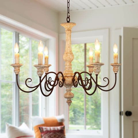 French Country Candle-style Wood Chandelier, Royal Farmhouse Wooden Chandelier - 33 inches