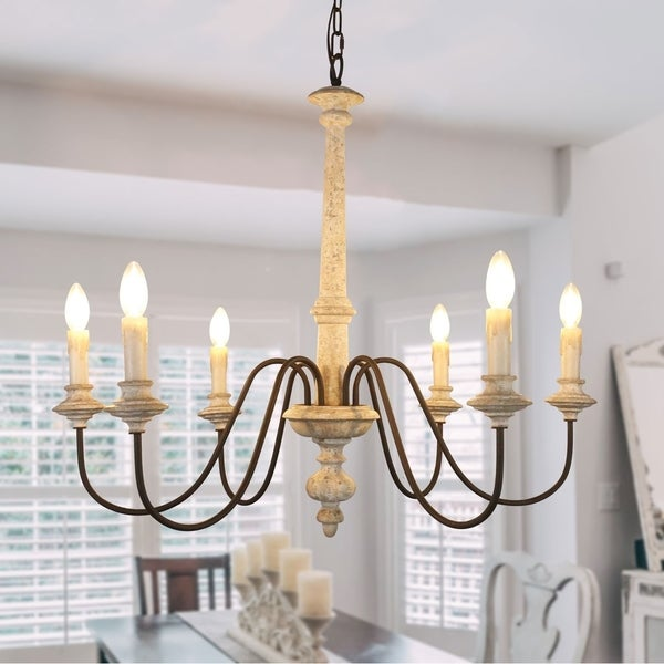 Shabby Chic 6 Light Off-White Wood Candle Chandelier with adjustable Chain - 33 inches. Opens flyout.