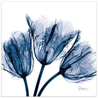 """Blue Tulip x-ray"" Flower Wall Art on Frameless Free Floating Tempered Glass Panel - Blue/White"