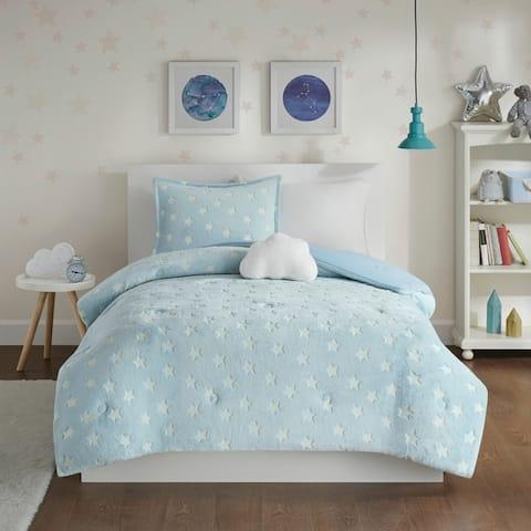 Mi Zone Avery Aqua Glow In The Dark Plush Comforter Set