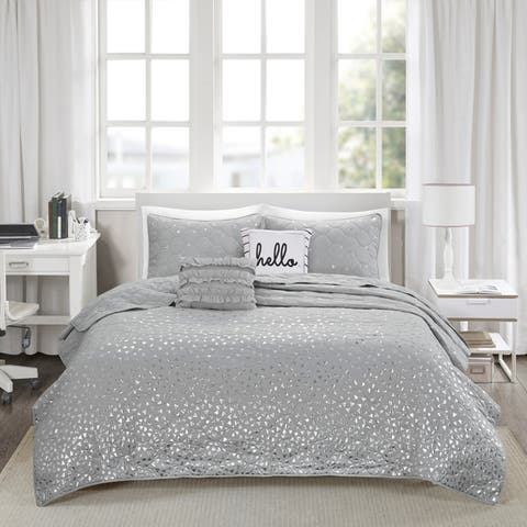 Intelligent Design Liv Metallic Printed Coverlet Set 3-Color Option
