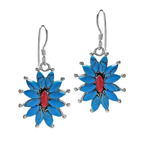 Handmade Romantic Florals Stone .925 Sterling Silver Earrings (Thailand)