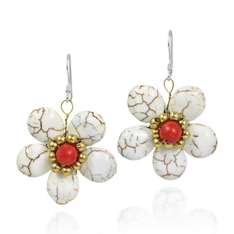 Handmade Cute Flower Brass .925 Silver Earrings (Thailand)