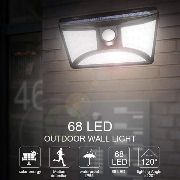 Ip65 Waterproof Solar Lamp 68 Led Outdoor Wall Light Motion Sensor Security Lights For Front Door Yard Garage Garden Porch On Sale Overstock 28585966