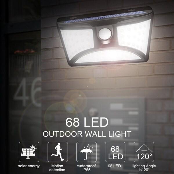 Yard Deck Garage 4000K Outdoor Solar Wall Light 1000LM Dusk to Dawn PIR Motion Sensor Security Lights Adjustable Light Head IP65 for Front Door