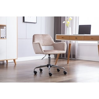 Porthos Home Pepa Swivel Office Chair With Armrests, Suede Upholstery
