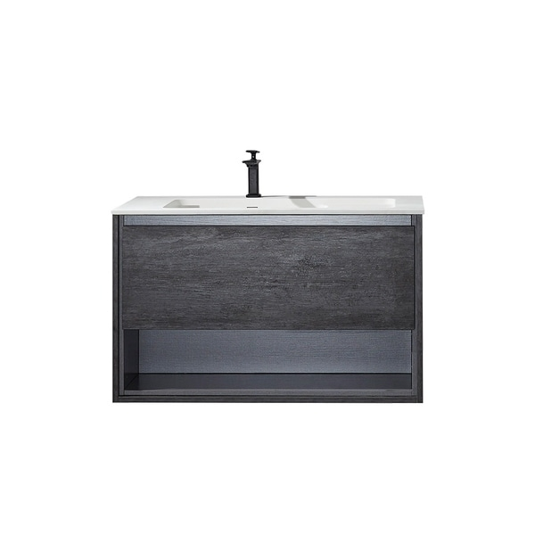 "Perma 40"" Single Vanity in Suede Elegant Grey with White Acrylic Under-Mount Sink Without Mirror"