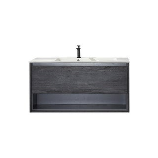 "Perma 48"" Single Vanity in Suede Elegant Grey with White Acrylic Under-Mount Sink Without Mirror"