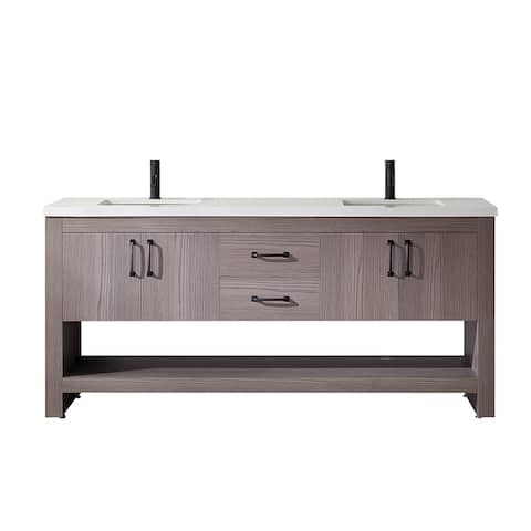 "Bari 72"" Double Vanity in Dark Grey Oak with Fine White Quartz Countertop Without Mirror"