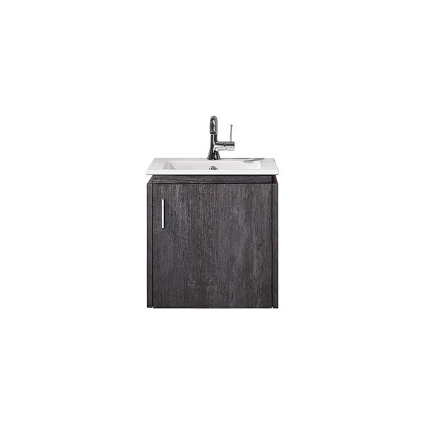 "Aosta 16"" Single Vanity in Suede Elegant Grey with White Drop-In Porcelain sink Without Mirror"