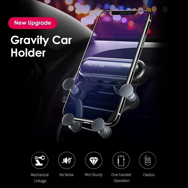 4 to 6.5 Inch Single Hand Operation Air Vent Mount Gravity Shockproof Car Phone Holder Black