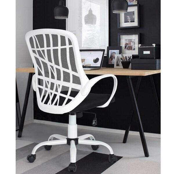 Porch & Den Dellatorre White Mesh Swivel Office Chair