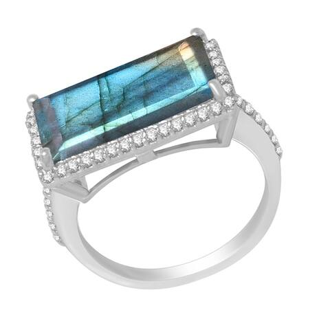 Sterling Silver with Rectangle Cut Natural Blue Labradorite and White Topaz Halo Ring
