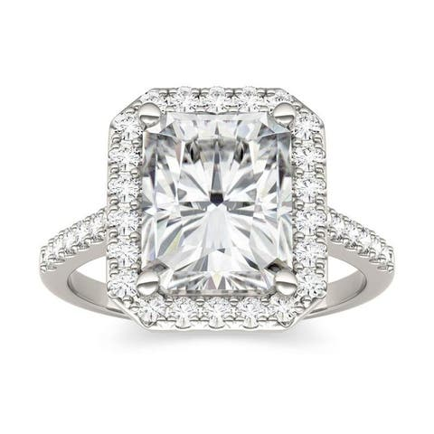Moissanite by Charles & Colvard 14k Gold 4.41 TGW Radiant Halo Ring