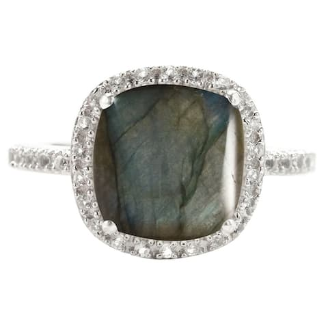 Sterling Silver with Natural Labradoride and Natural White Topaz Cushion Cut Halo Ring