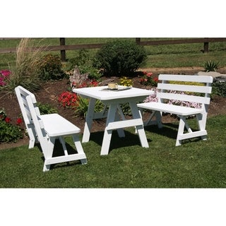 4 Foot Pine Picnic Table w/ 2 Backed Benches