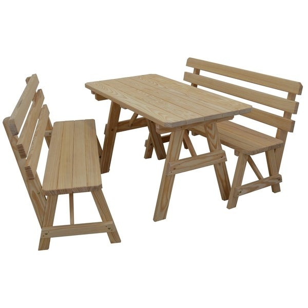 5 Foot Pine Picnic Table w/ 2 Backed Benches
