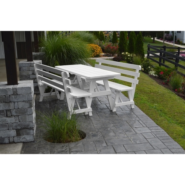 6 Foot Pine Picnic Table w/ 2 Backed Benches