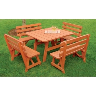 Square Picnic Table with 4 Backed Benches