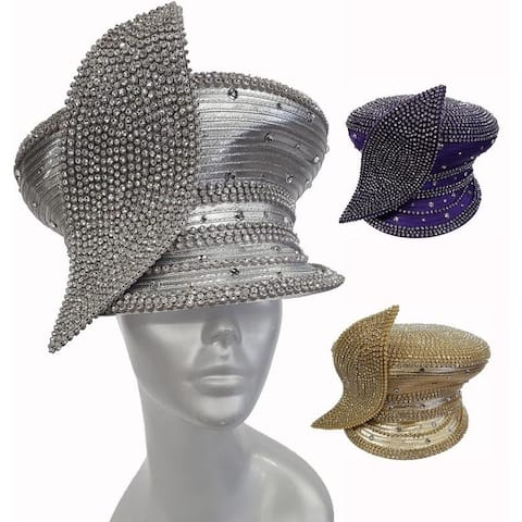 Captains Cap crystal rhinestone covered leaf trim satin ribbon all year around hat for dressy occasion.