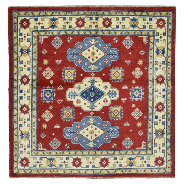 Handmade Fine Kazak Square Rug - 5' x 5'